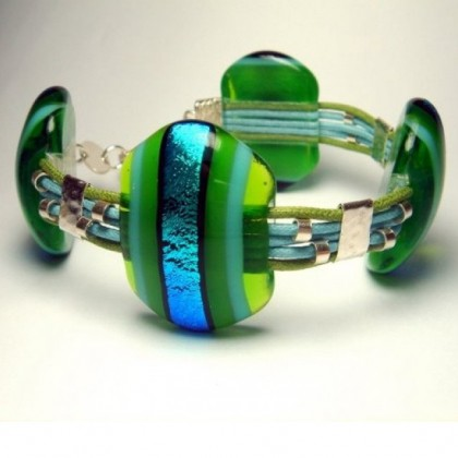 Blue Green Lampwork Glass Bracelet by JanArt