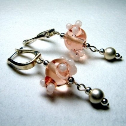 Pink  Beaded, Sterling Silver Leverback Earrings by JanArt Israel