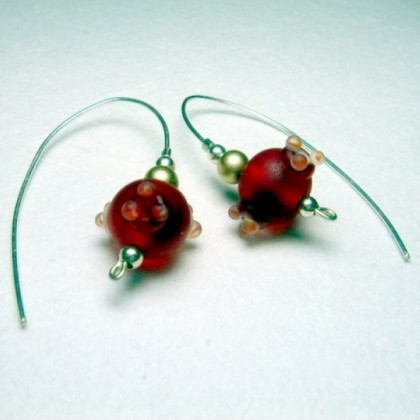 Red Fused Art Glass Earrings, Hand Crafted in Israel