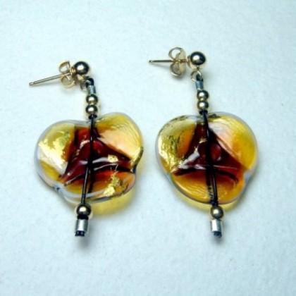 Brown and Gold Floral Design Art Glass Earrings