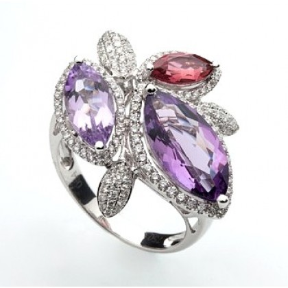 18ct Solid White Gold Cocktail Ring Diamonds,Amethyst Tourmaline