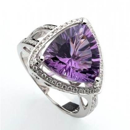 Amethyst and Diamond Cocktail, Engagement Ring, 18 ct Solid White Gold