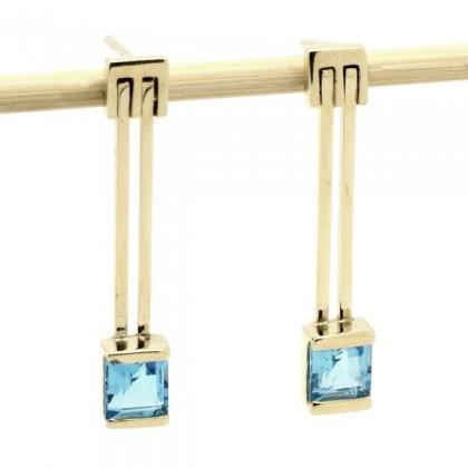 9k Gold Blue Topaz Drop Earrings