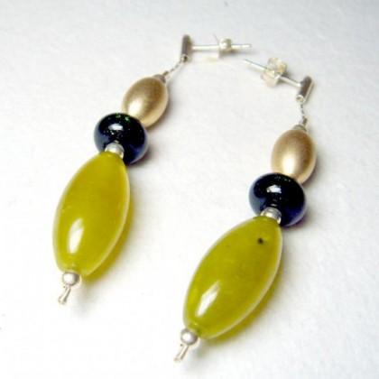 Colored Fused Glass Drop Earrings by Jan Art Israel