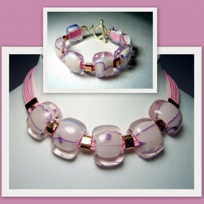 Designer Jewellery set, Necklace and Bracelet Fused Glass by Jan Art Israel