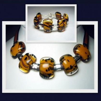 Designer Jewellery Set, Fused Glass and Sterling Silver  JanArt Israel
