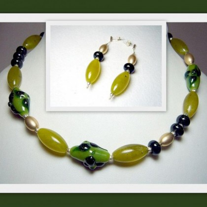 Fused Glass Necklace and Earrings, Janart Jewellery, Made In Israel