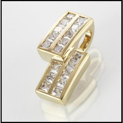 9ct Gold Simulated Diamond Pendant