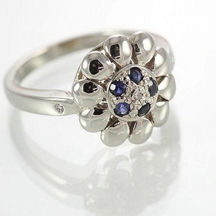 9ct White Gold Sapphire and Diamond Floral Ring