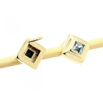 Solid 9k Gold Blue Topaz Stud Earrings