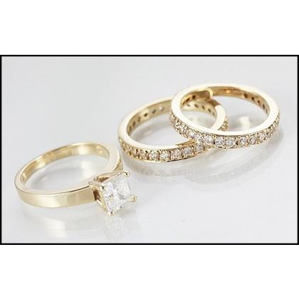 9ct Gold Simulated Diamond Wedding Ring Set x 3
