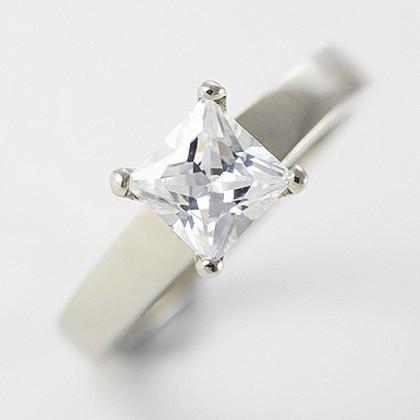 9ct White Gold Jewelry, Cubic Zirconia Wedding Engagement 3 Ring Set