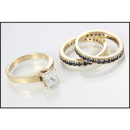 9ct Gold Sapphire and Diamond Wedding Ring Set