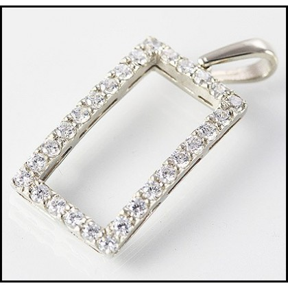 9ct White Gold Simulated Diamond Pendant