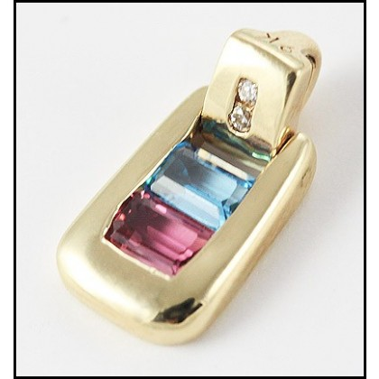 9ct Yellow Gold Topaz and Tourmaline Pendant