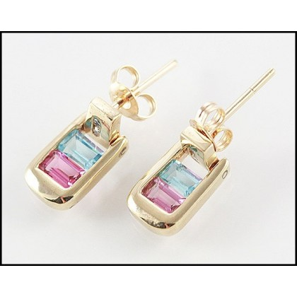 Solid 9k Topaz Tourmaline Stud Earrings