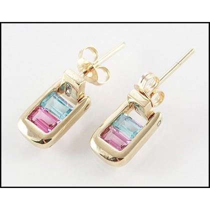 Solid 9k Topaz Tourmaline Stud Earrings