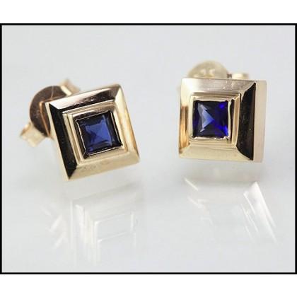Solid 9k Gold Sapphire Stud Earrings