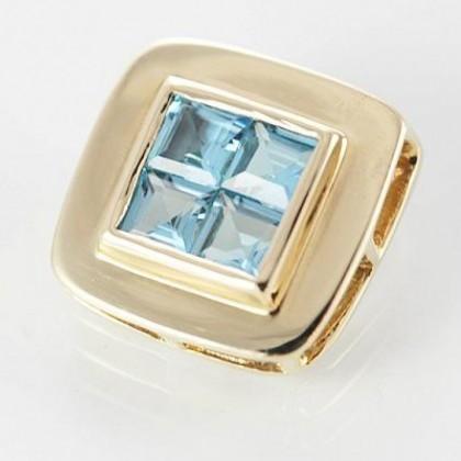9ct Solid Gold Princess Cut Blue Topaz Pendant
