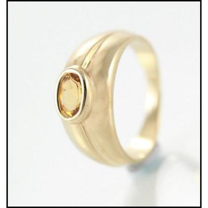 Unisex 9ct Yellow Gold Citrine Dress Ring