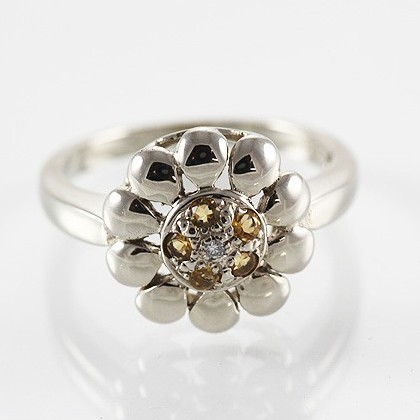 9ct Gold Diamond and Citrine Floral Ring