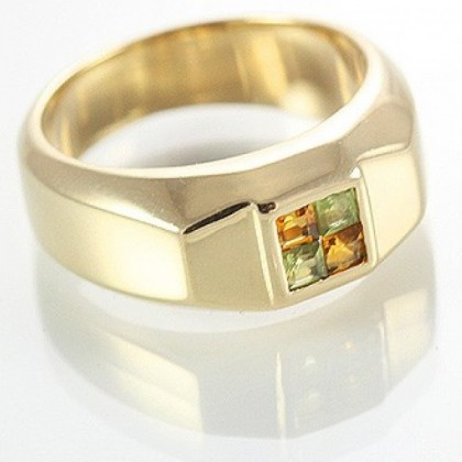 9ct Gold Unisex Ring with Citrine and Peridot