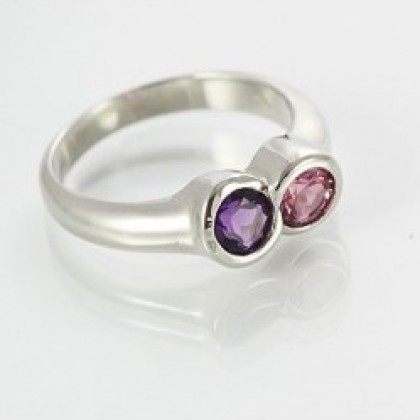 9ct White Gold Ring with Amethyst and Pink Tourmaline