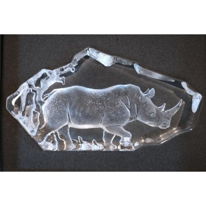 Crystal Sculptured  Rhino (Mats Jonasson)
