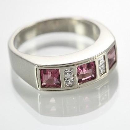 9k White Gold  Pink Tourmaline and CZ Ring