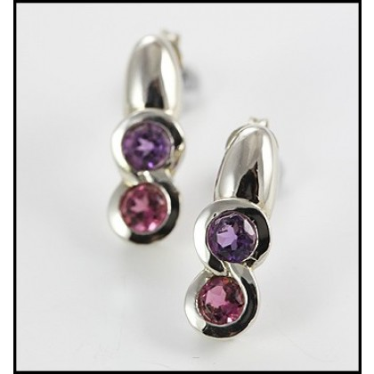Solid 9ct White Gold Amethyst and Tourmaline Earrings