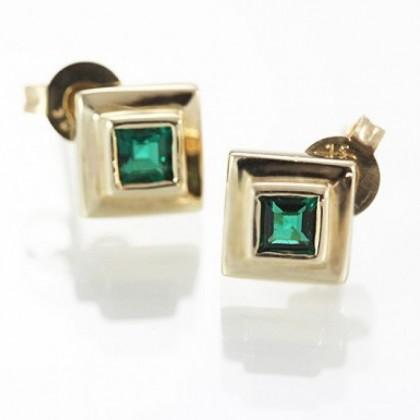 Solid 9k Gold Emerald Stud Earrings