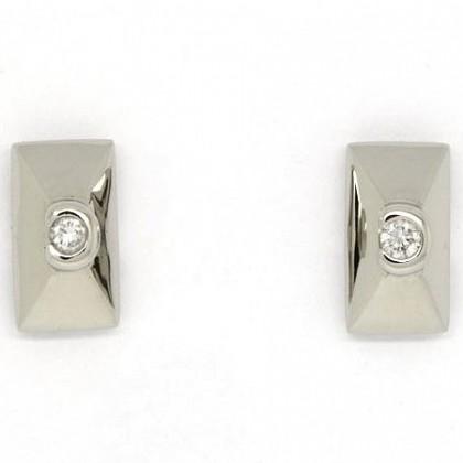 Rectangular 9ct White Gold Diamond Stud Earrings