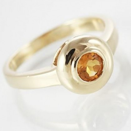 Antique Style, 9ct Gold Round Citrine Dress Ring