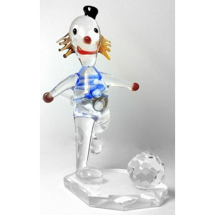 Crystal Clown and Ball Figurine