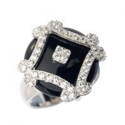 Sterling Silver Jewelry, Ladies Black Onyx CZ Dress Ring