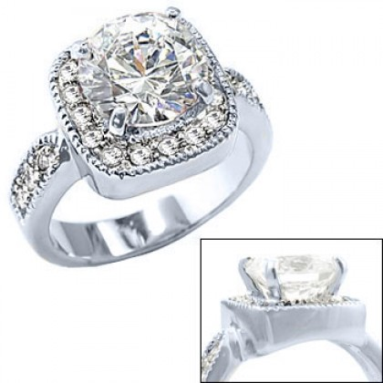 Ladies Diamond Engagement Ring in Rhodium Silver