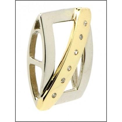 9ct White and Yellow Gold Diamond Pendant