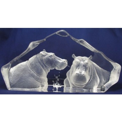 Mats Jonasson Crystal Two Hippos Bathing Limited Edition