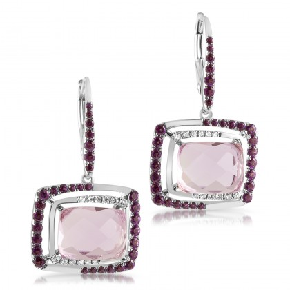 Pink Amethyst Diamond  White Gold Earring