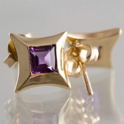 Solid 9k Gold Amethyst Stud Earrings