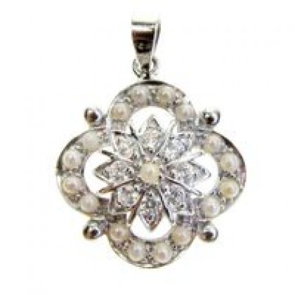 Sterling Silver Necklace Antique Seed Pearl with Cubic Zirconia