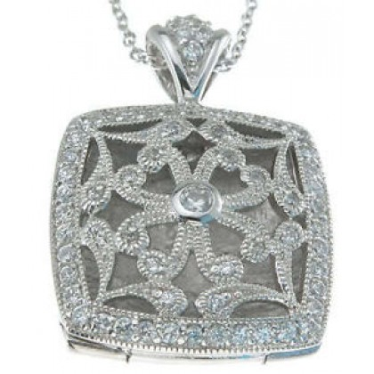 Antique Inspired Square CZ Locket in 925 Sterling Silver