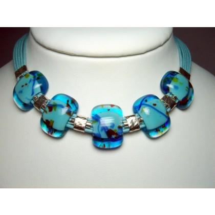 Designer Necklace Fused Art Glass by JanArt Israel