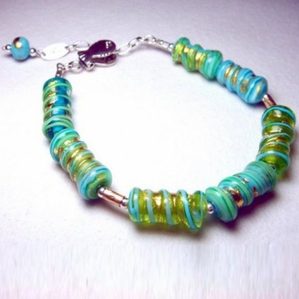 Designer Fused Glass Beaded Bracelet, Crafted in Israel
