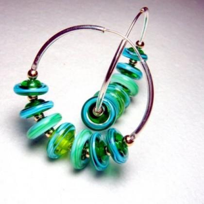 Sterling Silver Hoop Design Blue Green Beaded Glass Earrings