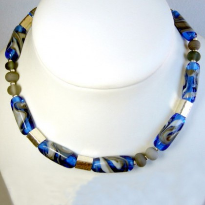 Designer Necklace, Fused Glass and Sterling Silver