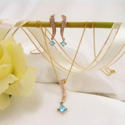 Genuine Diamond and Blue Topaz Earring and Pendant Set