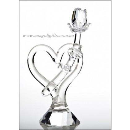 Crystal Heart and Rose Ornament