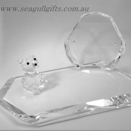 Crystal Photo Frame with Crystal Teddy Bear Ornament