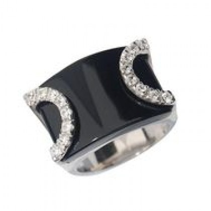 Sterling Silver Ring, Black Onyx with Cubic Zirconia